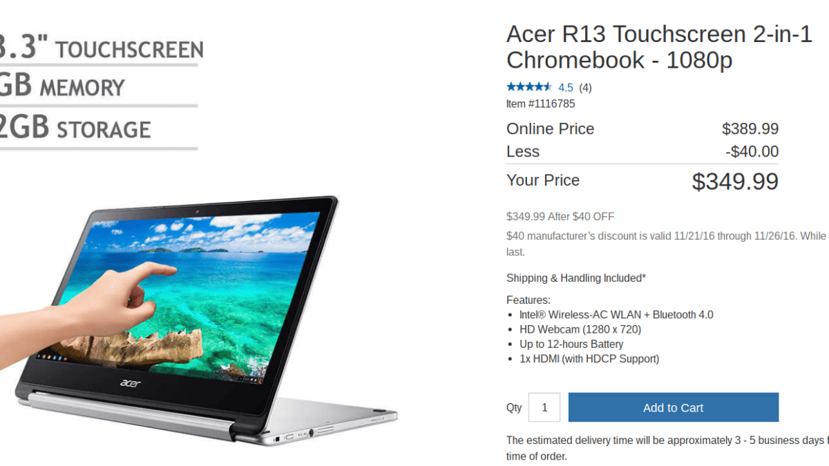 Chromebook Deal Alert: $349 Acer Chromebook R13 In-Stock At Costco