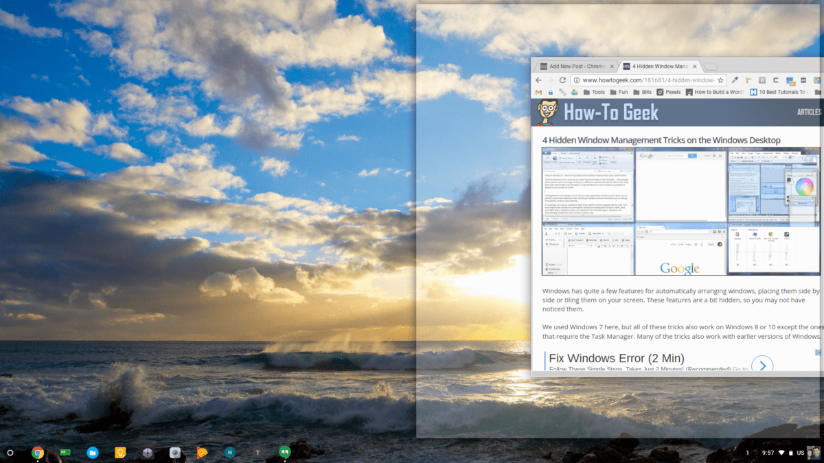 Chrome OS Window Snapping Gets a New Trick
