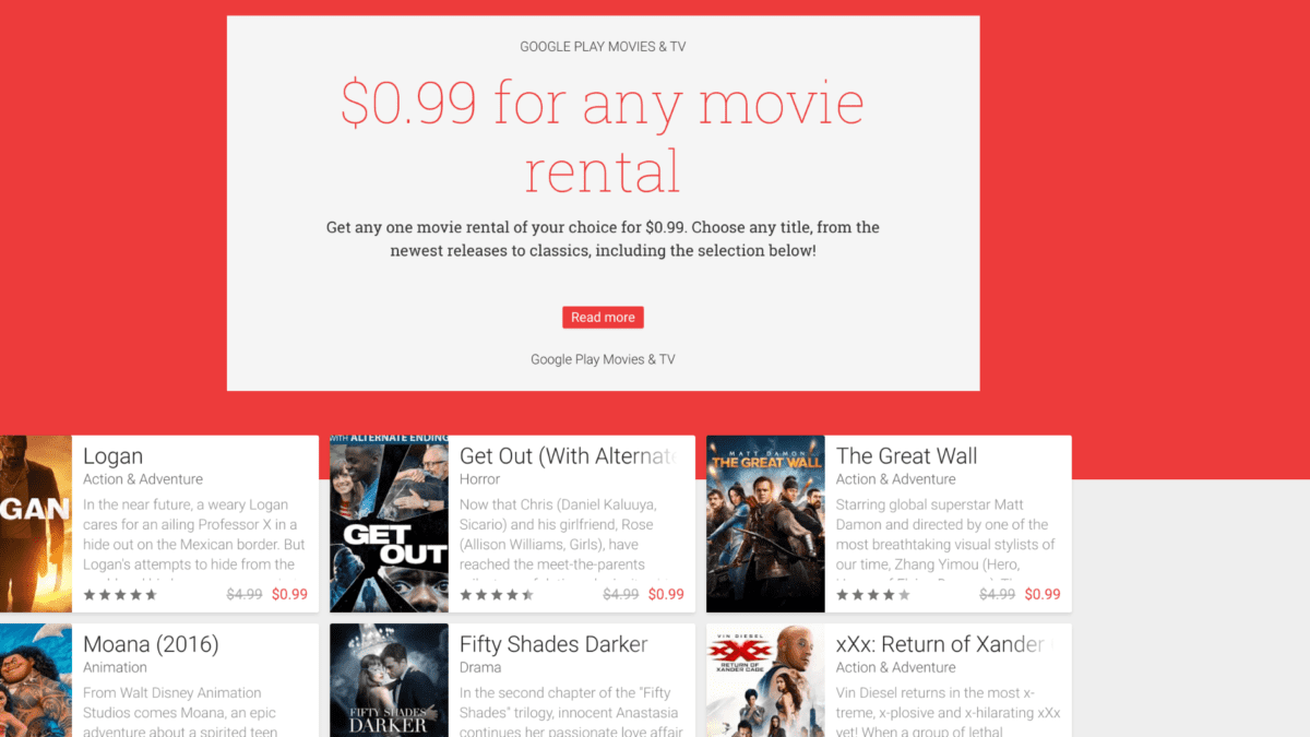 99 Cent Rentals From Google Play Movies, Caveats Apply