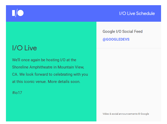 Watch The Google I/O Live Stream Here May 17-19