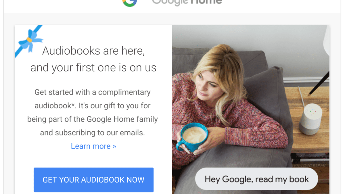 Google Gives Free Audiobook To Google Home Owners