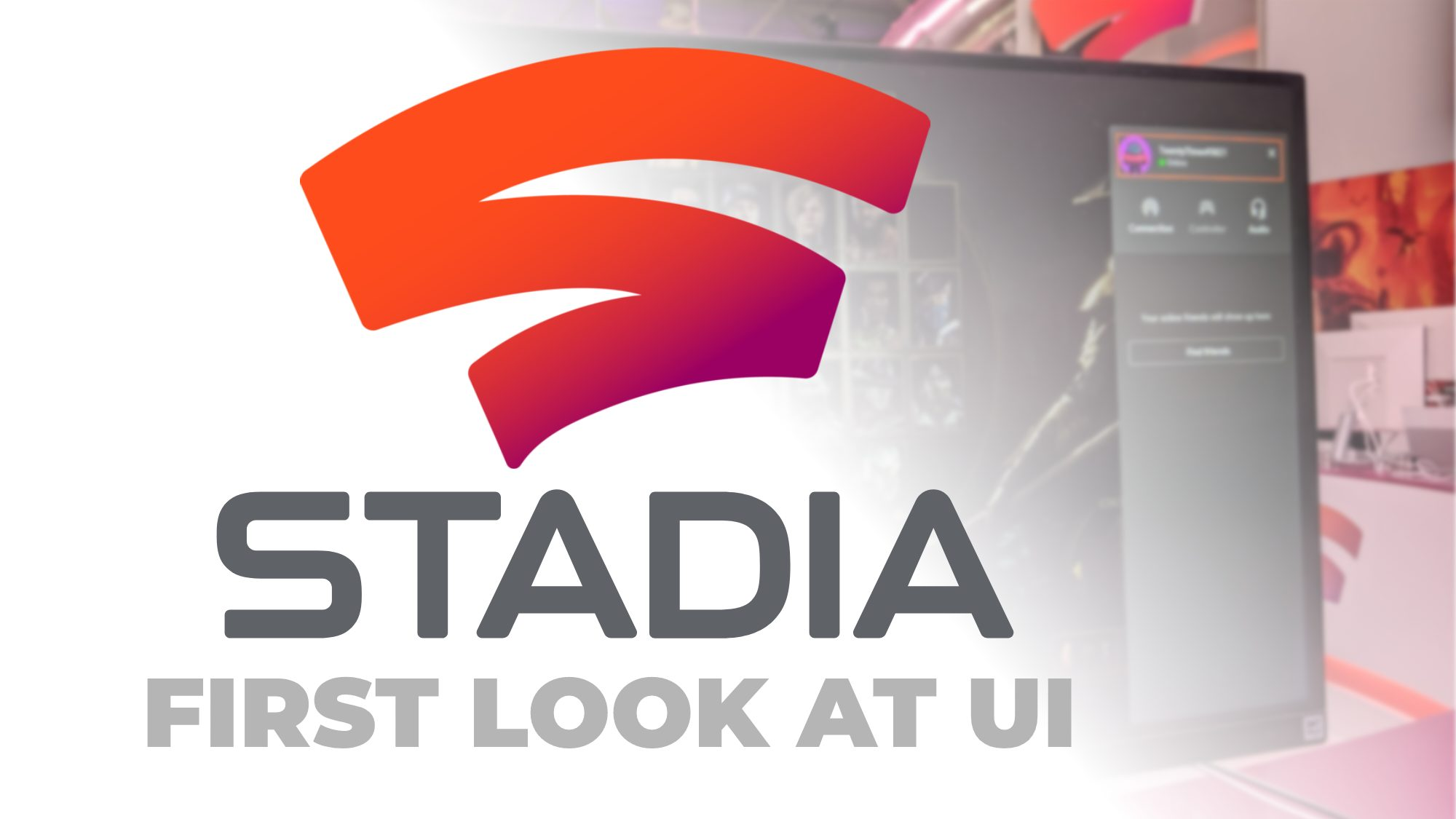Partial Stadia on-screen UI for Chromecast shown in photo from Gamescom booth