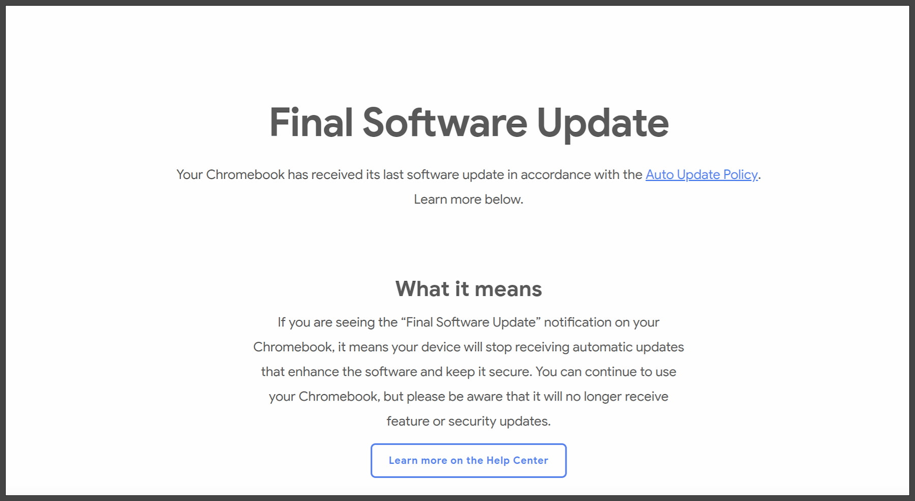 """Chromebooks will soon list """"End of Life"""" in the settings menu"""