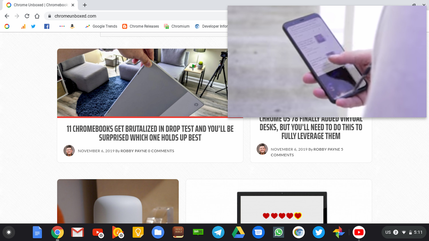Chrome OS 78 Continued: YouTube picture-in-picture and split browser settings