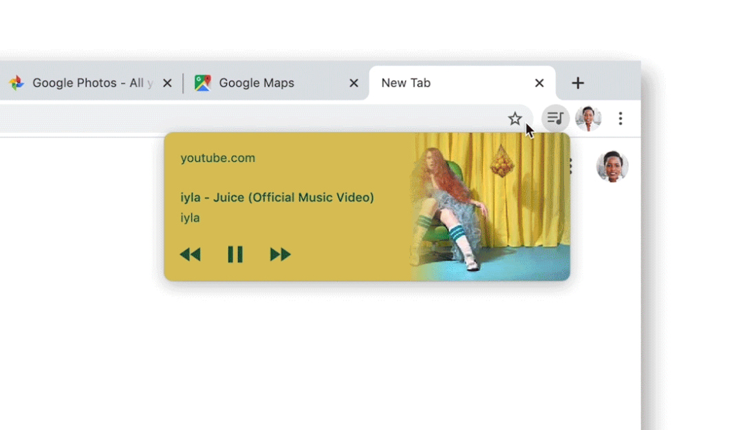 Manage audio and video with new media hub in desktop Chrome